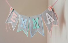 Pastel Tea Party Theme Felt Name Banner with Roses & Ribbon / Baby Shower, Birthday, Nursery Banner / Other Colors Available