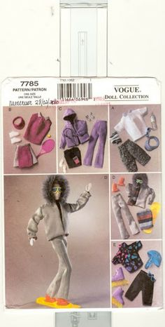 Vogue Barbie Pattern 7785 oop 2003 Uncut Make Fashion Doll 11 Doll Clothing Sewing Barbie Clothes, Barbie Sewing Patterns, Crochet Doll Clothes, Sewing Dolls, Doll Clothes Patterns, Doll Patterns, Sewing Closet, Free Barbie, Barbie And Ken