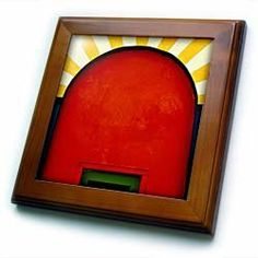 """Abstract patterns of color on restored historic buildings - 8x8 Framed Tile by VWPics. $22.99. Cherry Finish. Solid wood frame. Dimensions: 8"""" H x 8"""" W x 1/2"""" D. Inset high gloss 6"""" x 6"""" ceramic tile.. Keyhole in the back of frame allows for easy hanging.. Abstract patterns of color on restored historic buildings Framed Tile is 8"""" x 8"""" with a 6"""" x 6"""" high gloss inset ceramic tile, surrounded by a solid wood frame with predrilled keyhole for easy wall mounting.. Save 15% Off!"""