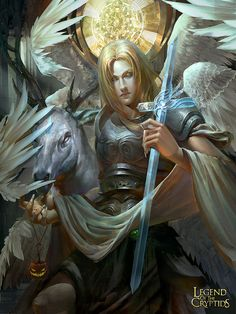 Artist: Yusen Song aka Naruto song - Title: Lucien - Card: Galaksia of the Cosmos Legend of the Cryptids Dark Fantasy Art, Fantasy Artwork, Fantasy Girl, Art Beauté, Shadowhunters, Angel Warrior, Woman Warrior, Ange Demon, Angels And Demons