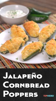 Jalapeño Cornbread Poppers Recipe   Jalapeños and cornbread in one delicious app! Easy to make, delicious, and guaranteed to be the hit of your next party. Click for recipe and how to video.  #appetizers #partyfood #goodeats #spicy