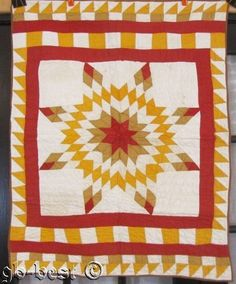 Authentic 1890s PA Star CRIB Quilt RED Cheddar Sawtooth Squares