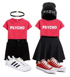 Psycho by jessysdreamworld on Polyvore featuring polyvore, fashion, style, WithChic, adidas, Converse, clothing, converse, skater and Psycho