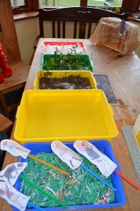Going on a Bear Hunt sensory tub sequence: The grass was shredded green paper; the river was water; the mud T11 collected from the garden and soaked with water for the squelch effect; T11 also collected some branches from different trees for the forest; we used shaving foam for the snow storm; I covered a wooden box with hessian for the cave and T11 built a simple lego house. I had A4 put the trays in the order in the book and gave them the puppets we had made the day before