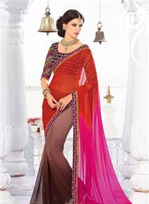 Stunning Pink And Coffee Color Wedding Wear Saree