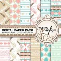 Boho Digital Paper Pack TRIBAL CHIC Printable von Stilboxx auf Etsy
