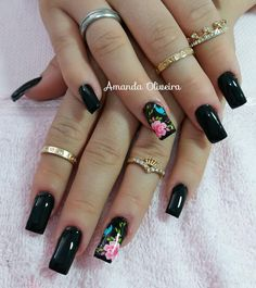 how to make nail Black Nail Art, Black Nails, Perfect Nails, Gorgeous Nails, Spring Nails, Summer Nails, Beauty Nails, Hair Beauty, Sun Nails