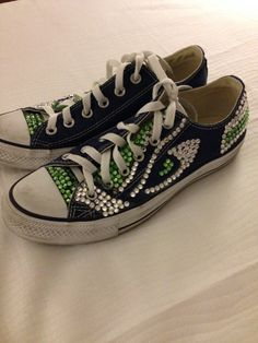 Seahawks Shoes Converse Custom Swarovski by BlingItOnShoes These are adorable! I want a pair! Go Seahawks! xoxo
