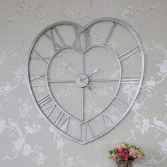 Large Grey Metal Heart Shape Skeleton Wall Clock