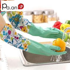 1 pair Velvet lining later Long household gloves Dish washing Cleaning kitchen Gloves Oil proof water proof proect hand hot sale