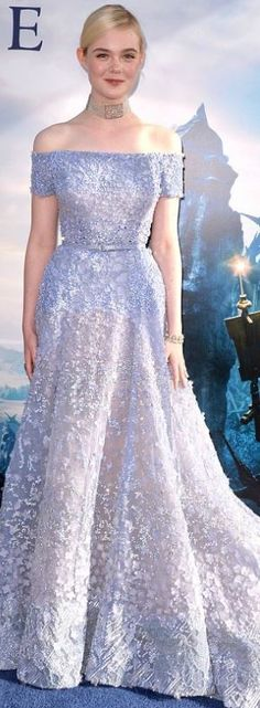 Who made Elle Fanning's blue off the shoulder gown that she wore in Hollywood on May 28, 2014?
