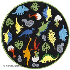 Zoomie Kids Barbra Hand-Tufted Black Kids Rug Rug Size: Rectangle x Dinosaur Park, Dinosaur Nursery, Kids Area Rugs, Round Area Rugs, Childrens Rugs, Circle Rug, Polyester Rugs, Whimsical Fashion