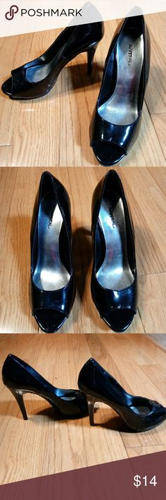 *New List* XAppeal Black Patent Open Toe Pumps EUC worn very little, no box. The heel is 4 and 1/2 in tall. No wear. These are gorgeous shoes! Xappeal Shoes Heels