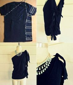 Over-sized Shirt Refashion! This is so cool! Stylish way to refashion old shirts! Totally making this! #tshirtrefashion #oversizedshirtrefashion #tshirttransformation