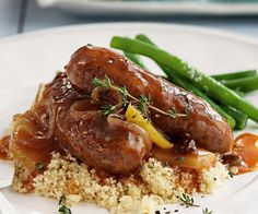 Braised Short Ribs Recipe - Laura in the Kitchen - Internet Cooking Show Starring Laura Vitale Devilled Sausages Recipes, Deviled Sausages, Sausage Recipes, Pork Sausages, Curried Sausages, Sausage Meals, Pork Meals, Dump Meals, Sausage Casserole