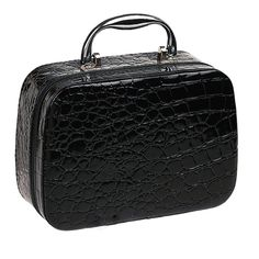 PU Leather Cosmetic Makeup Box Case Toiletry Organizer Storage Handbag With Mirror Crocodile Pattern Black -- Wow! I love this. Check it out now! : Travel cosmetic bag