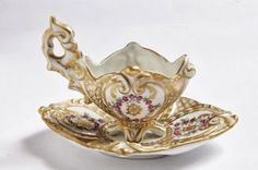 Demitasse Cup Saucer Set Ornate Hand Painted by RosePetalResources, $90.00