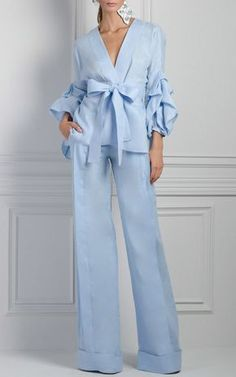 Editor's Note These Johanna Ortiz* pants feature a high rise waistline, structured wide leg silhouette, and full length hemline, Product Details Wide leg High rise waistline Zip fly closure, Hook & eye Composition: 100% Linen Color: Celeste Unlined Made in Colombia