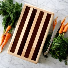 Thick wooden cutting board in maple and walnut. 15 x 9. Striped pattern. Anniversary or wedding gift. on Etsy, $91.43 AUD
