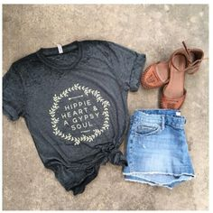 Hippy Heart and Gypsy Soul Tee Really Soft. Runs Big You need this shirt in your closet!!