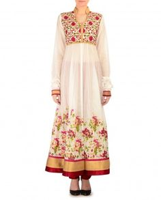 Floral Painted Anarkali Kurta Set with Embroidered Bodice - $400