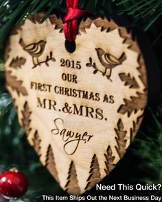 This wedding ornament will make the perfect gift for your newlywed friends! Personalize this alder wood holiday christmas ornament today and surprise your friends and family with this unique one of a kind christmas gift ! ♥ Every Text Can Be Changed on This Ornament ♥  • • • • • • • • • • • • • • • • • • • • • • • • • • • • • • • • • • • • •  [ P R O M O T I O N ]  Like or Heart this listing and receive a free gift box to go along with your Christmas ornament.  • • • • • • • • • • • • • • •…
