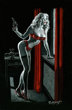 Sudden Danger - Black Board, pin up, Greg Hildebrandt