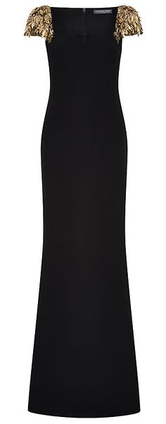 Alexander McQueen Black Embellished Shoulder Gown