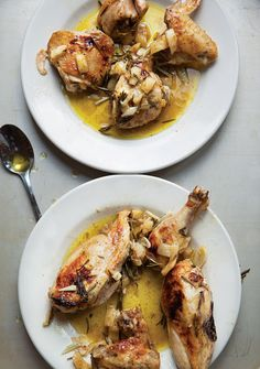 Lemon and Rosemary Chicken (Pollo Arrosto)  By: Evan Kleiman of Angeli Caffe in Los Angeles  From: saveur.com