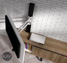 Catálogo KAY de salones y comedores modernos brazo soporte de la televisión que te permite girar 90º. baixmoduls.
