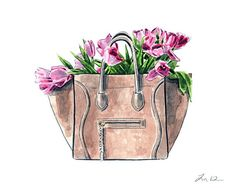 cdab91804733 Celine Luggage Bag with Tulips Handbag Art Print Watercolor Painting Wall  Decor Designer Fashion Illustration Preppy Gift for Her Canvas