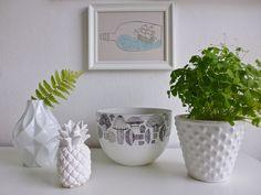 some of my plants/ teardrop pot/pineapple vase, kaj franck enamel bowl.....