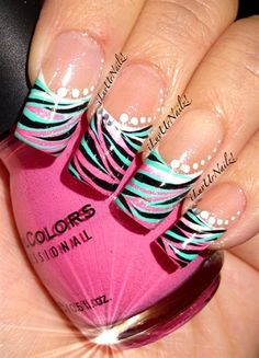 Not Your Typical French by iLuvUrNailz - Nail Art Gallery by Nails Magazine Fancy Nails, Trendy Nails, Diy Nails, Cute Nails, French Acrylic Nails, French Tip Nails, French Tips, Uñas Fashion, Nail Design Spring