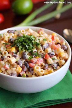 Mexican Pasta Salad -- part of The Best Picnic and Potluck Recipes Potluck Recipes, Side Dish Recipes, Mexican Food Recipes, Dinner Recipes, Cooking Recipes, Healthy Recipes, Ethnic Recipes, Potluck Ideas, Pasta Mexicana