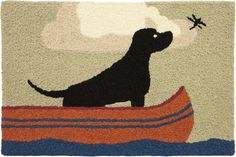 Lab In Canoe Jellybean Accent Rug Dragonfly & Black Dog Rustic Cabin Lodge Jellybean Rugs, Washable Area Rugs, Hand Hooked Rugs, Penny Rugs, Accent Rugs, Jelly Beans, Rug Hooking, Canoe, Dog Lovers
