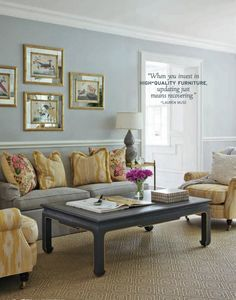 Slate blue/gray coffee table with gold highlight
