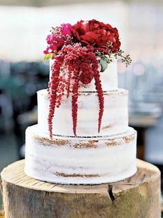Wedding Cakes : Picture Description Rustic amaranth + peony-topped fall wedding cake: www. Themed Wedding Cakes, Wedding Cake Rustic, Fall Wedding Cakes, Beautiful Wedding Cakes, Wedding Cake Toppers, Chic Wedding, Wedding 2017, Wedding Venues, Wedding Ideas