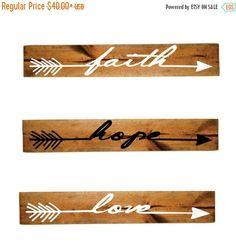 ON SALE - Aztec Faith Hope Love Arrow Wood Sign Set - Girls Bedroom Decor, Wall Decor, Reclaimed Barn wood, Wood Home Decor, Gift for Her, V by LEVinyl on Etsy