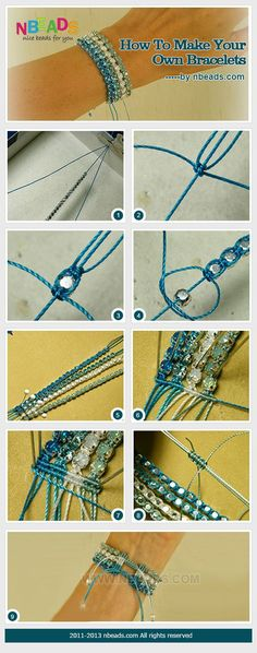 how to make your own bracelets.  La finition en noeuds de macramé est intéressante !