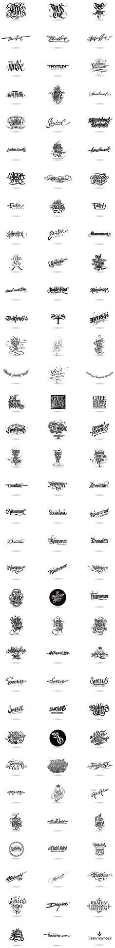 Calligraphic Logos by THEOSONE Adam Romuald Klodecki, via Behance. Pure awesomeness...