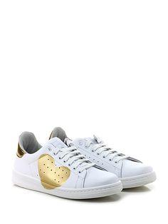 Stella Rittwagen - Sneakers - Donna - Sneaker in pelle e pelle laminata con suola in gomma. Tacco 30, platform 20 con battuta 10. - BIANCO\ORO - € 119.00