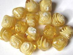 16 Pc Yellow Striped Lampwork Glass Beads Jewelry Making Arts Crafts 17mm Nugget #Lampwork