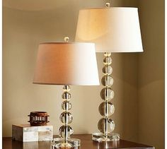 Stacked Crystal Table & Bedside Lamp Base #potterybarn combined with straight sided drum shades in white linen.