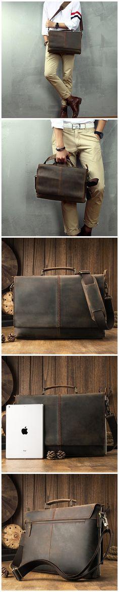 Handmade Shoulder Bag Crazy Horse Leather Messenger Bag Laptop Bag JD265-1 Canvas Leather, Leather Bag, Photography Bags, Crazy Horse, Mans World, Messenger Bags, Briefcase, Laptop Bag, Travel Bags