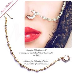 Gold Indian Diamante Nath Nose Ring Chains