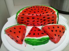 Two eight inch round cakes, cut in half use three of the halves for the big watermelon piece, then the last one cut into three pieces. Pretty simple once you get the hang of it :P.