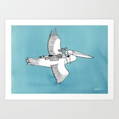 Pelican+Adventure+Art+Print+by+Jonas+Claesson+-+$48.88