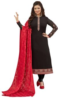 #Black #Georgette #Chuddidar #Kameez with #Dupatta.  Black Georgette kameez designed with Zari,Resham Embroidery. Available with Black Santoon Bottom with matching Brasso Dupatta.  INR:1,762.00  With Exclusive Discounts  Grab:http://tinyurl.com/zgrxvn8