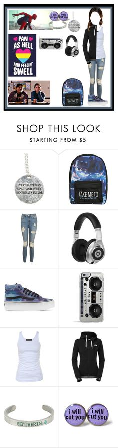 """Untitled #752"" by thin-mint on Polyvore featuring Hot Topic, Disney, Topshop, Beats by Dr. Dre, Vans, Zero Gravity, Marvel, Tusnelda Bloch, The North Face and Warner Bros."