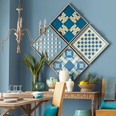 Blue Folk Art Game Board
